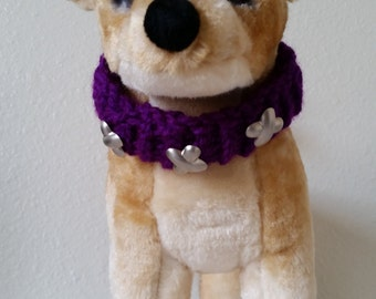 Purple Knitted Pet Collar Dogs and Cats
