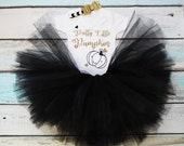 Pretty Little Pumpkin First Halloween Thanksgiving Turkey Day Baby Girls Outfit Set Black Tutu Gold Glitter Print Black Vest Bodysuit Onesie