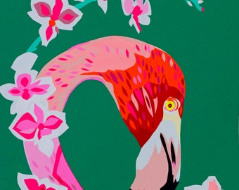 Flamingos and Flowers limited editon signed art print