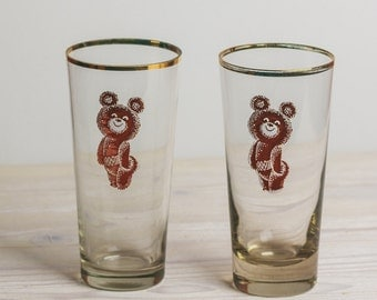 Set of 5 Vintage Juice Glasses with Gold Rim Olympic bear Vintage Glass Soviet Glassware Russian Retro Style Gold Rim Christmas xmas gift
