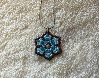 Blue Beaded Crystal Flower Necklace