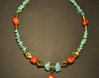 Turquoises and coral necklace