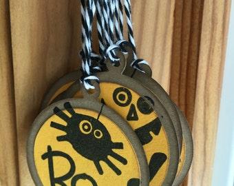 Halloween Gift Tags - Set of 9 - Handmade gift tags - Boo! - Halloween tags