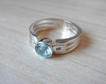 Light Blue Stone Ring, Blue Topaz Men Ring, Sterling Silver Ring, Gemstone Ring, Stone Ring, Blue Stone Ring