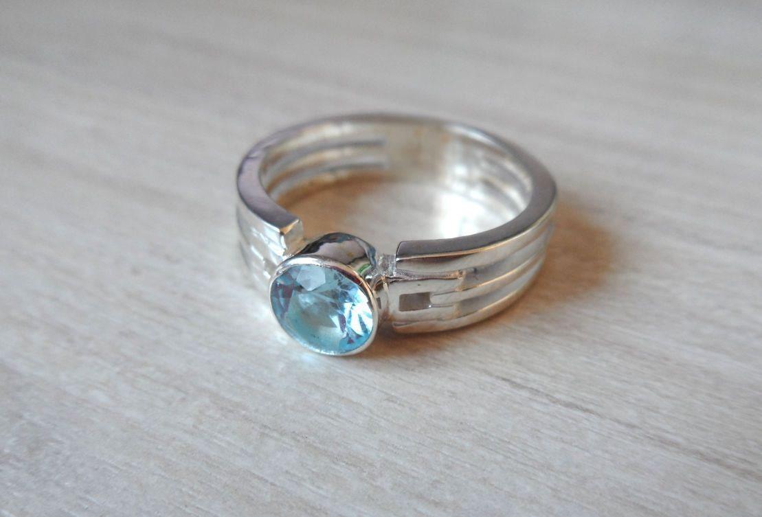 light blue stone ring blue topaz men ring sterling silver