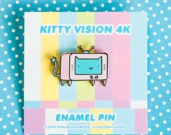 tv cat enamel pin – cute enamel pin, cat accessories, cat pin – blue face version