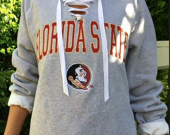 Lace Up Sweatshirt // Custom College Lace Up Sweatshirt