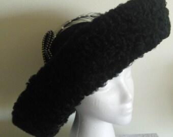 Handmade Black Wool Felt Faux Fur Sheepskin Fabric. Kentucky Derby,Wedding,Church Hat