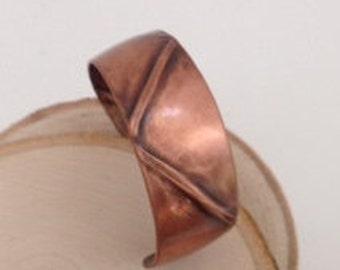 Narrow Folded Copper Cuff Bracelet