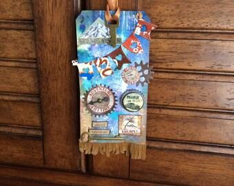 World Traveler mixed media art tag, gift tag, altered art, hang tag, mirror tag, luggage tag, steampunk, decoupage