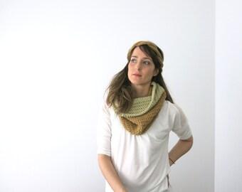 Set Headband and Cowl, earwarmer, headband and chunky circular scarf, set handknit winter, set winter womens, hair accessory, nekwarmer set