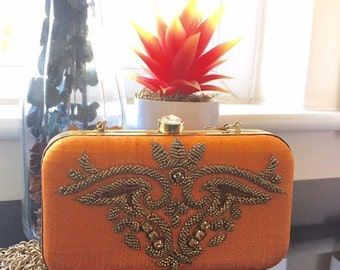 Elegant Carrot Orange/Zardosi Embroidered Clutch