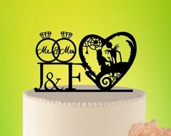 Wedding Cake Topper - jack and sally cake topper - jack sally wedding - wedding decor  jack and sally - Wedding Topper jack  sally L2-01-015