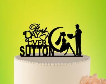 Wedding Cake Topper on Moon, Mr And Mrs Cake Topper on Moon, Moon Wedding Cake topper, Acrylic MOON Cake Topper, Midnight Topper L2-01-023