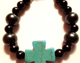 Black Beaded Bracelet with Cross