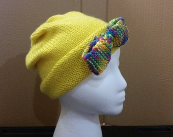 Yellow Slouchy Beanie with Bow