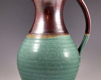 Rust Red and Turquoise Pitcher