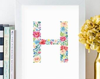 Monogram, Letter H, Watercolor, Floral, Printable, Girls room art, Girls Nursery ideas, Girls nursery print, Flowers, leaves, Kids art, Pink