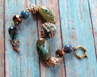 Southwest Boho Beaded Bracelet, Blue Beaded Bracelet, Southwest Jewelry, Boho Jewelry, Boho Bracelet, Southwestern Bracelet