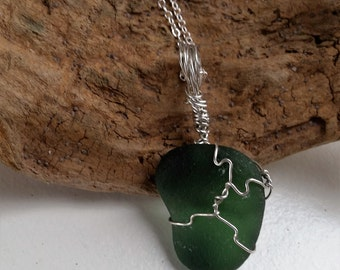 Large Olive Green Wire Wrapped English Sea Glass Pendant