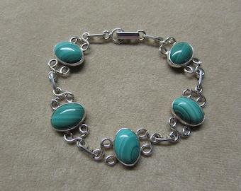 Gorgeous Malachite STERLING silver 5-stone bracelet.