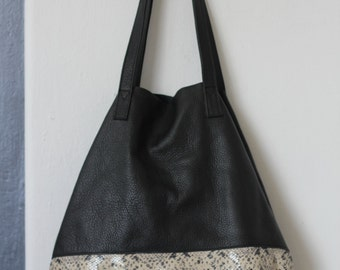Leather Tote with snake print