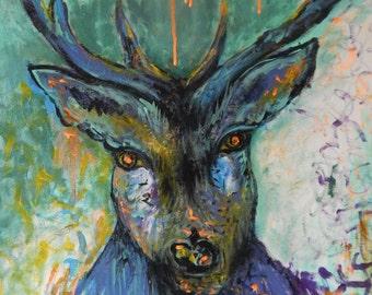 Acrylic Painting ''Deer '' Splash Colour 50CMx60CM