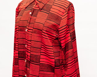 SALE 80s Vintage Red and Black Striped Long Sleeve Blouse Women's Large