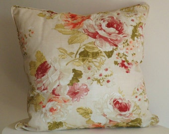 Floral pillow cover flowers roses beige pink green, shabby chic pillow, country pillow, chic cushion, country decor, gift for mum