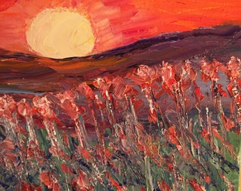 Beautiful original oil painting of the sunset!