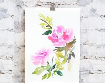 Original, Watercolor, peony painting, original, peony art, peony watercolor, abstract floral painting, floral pint, floral art, wall art