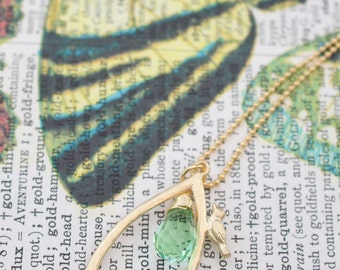 Gold bird wishbone Necklace, Grass green Faceted Glass Stone droplet,  16k gold plated