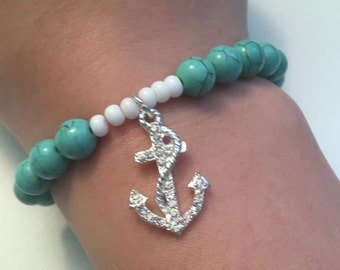 Turquoise Beaded Bracelet with Anchor Charm