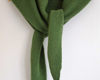 Forest Green Hand Knitted Shawl