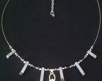 Silver Wire Illusion Style Hematite Necklace With Goddess Pendant