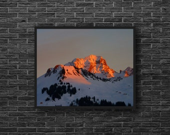 Mountains Photo - Sunrise Photo - Nature Photography - Mountain Landscape - Snowy - Mountain Print - Mountain Wall Art - Nature Wall Decor