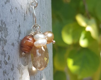 Smoky quartz and earth toned freshwater pearl necklace