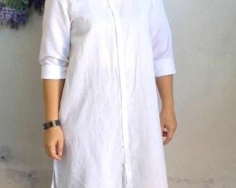 Linen Dress / White Linen Shirt Dress, Linen Tunic Dress