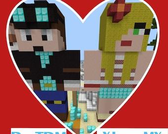 Dan and Jemma Minecraft love statues