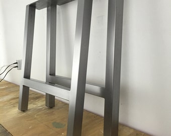 Brushed Metal Table Legs H-Frame Set of 2