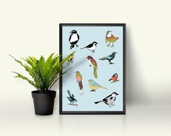 Birds art print, printable, wall art, poster, animals