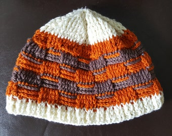 Strip Design Beanie - Casual Wear <Orange & Brown>