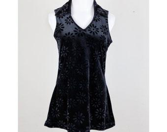 90s does 60s/ Black Velvet Floral Mini-dress/ Go-Go / Tunic / Size Medium