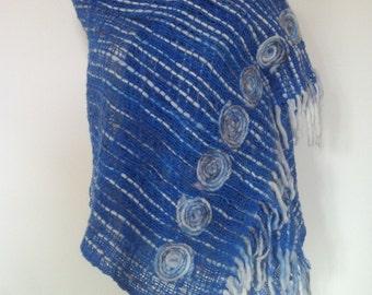 Blue, grey, sort white pure wool Scarf Shawl