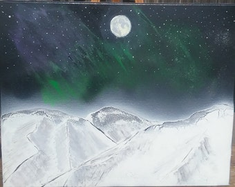 Painting of mountains in Alaska.