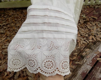 Vintage Edwardian White Lawn Petticoat Pin Tucks and Lace Unfinished Tiny Waist Costume Display Doll Dress or Repurpose