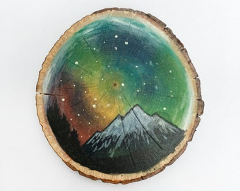 Galaxy & Mountains - Wood Slice Painting