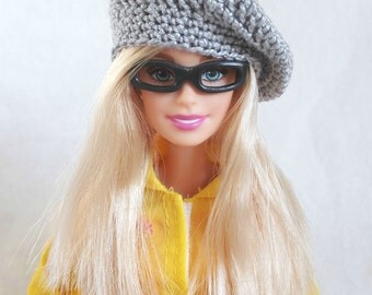 Gray Barbie doll beret, hat for Barbie-like dolls