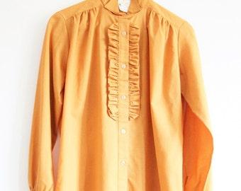 Vintage shirt blouse mustard orange frilly 1970s Size 10