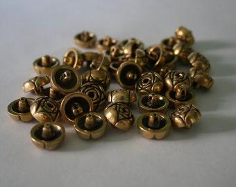 Gold rose buttons - Sets of 10 - Vintage